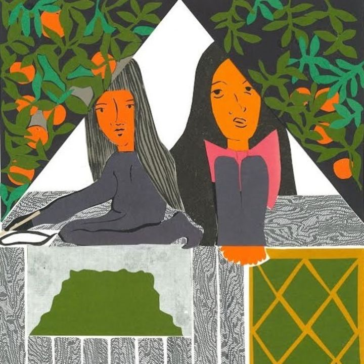 A bright illustration of two women looking through a cramped space in the attic of a small house, surrounded by branches holding oranges.