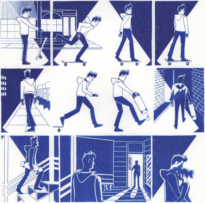 This is an excerpt of a silent comic by Lorenzi. It is painted dark blue on white paper. In the first eight frames Lorenzi is skateboarding down a sidewalk. It appears to be night because there is a bright streetlight shining down on him. The light travels across multiple panels and is represented by just the white of the paper. in the final row of comic panels, Lorenzi arrives home and sees his partner, Lauren, in the doorway waiting for him. In the final from they are hugging.