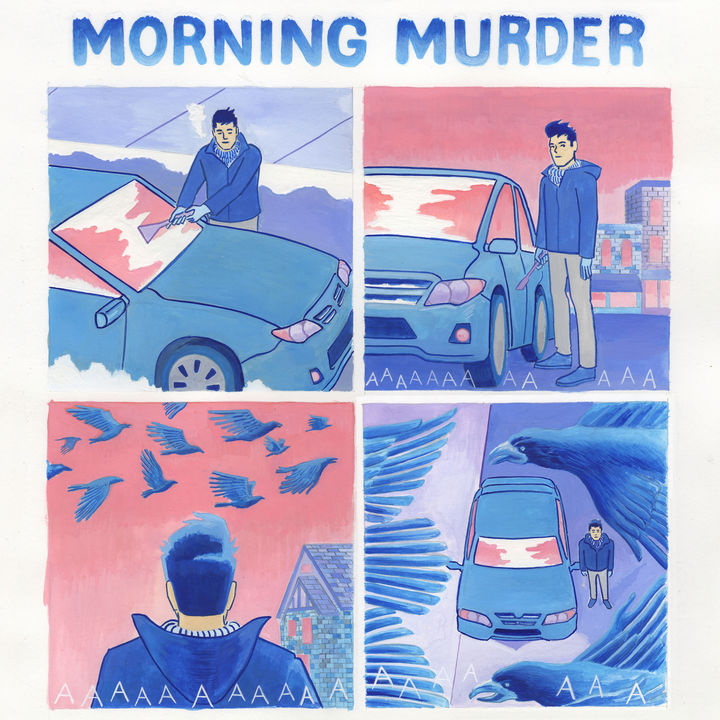 """This is the full comic the header image of the interview is an excerpt of. In the full version """"Morning Murder"""" is written across the top and Lorenzi is cleaning his windshield. """"AAAAAAAA"""" is written in the second panel to represent the crows' calls, before he looks up and sees the crows above him. Its an eerie comic, but the colors are bright and playful."""