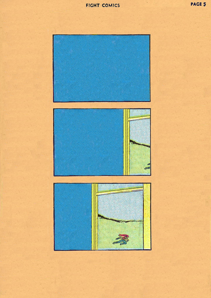 Comic with three panels stacked vertically. The first panel is just a blue rectangle. The second panel is mostly blue with the edge of a window in the corner. In the last panel, the full window is revealed to show a person with a red cape running passed in a field.