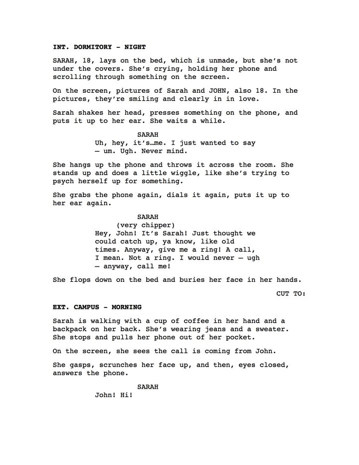 This shows a basic screenplay page, which includes all of the elements the author describes lower in the article