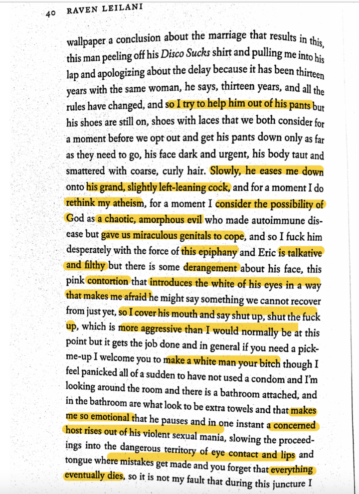 Page 40 from Raven Leilani's LUSTER, with descriptions highlighted (many of these descriptions are also listed in the essay)